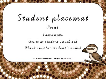 Student desk placemat