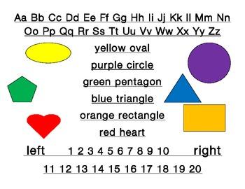 Back to school Student desk plate: alphabet, shapes, colours, left & right