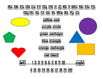 Back to school Student desk plate: alphabet, shapes, colours, left & right
