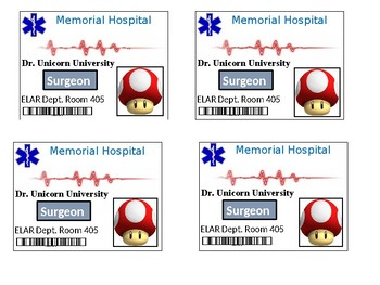 Doctor theme badges, Dr. Badge template, Surgery, classroom transformation