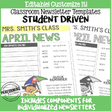 Newsletter Template Editable Student-Driven Classroom Newsletters