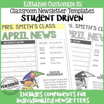 5th grade newsletter template - monthly newsletter template editable student driven 3rd
