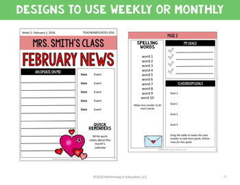 Monthly newsletter template editable student driven 3rd for 5th grade newsletter template