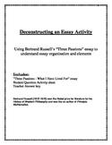 Student essay analysis activity