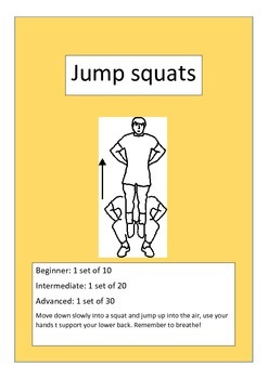 Student fitness cards (physical activity), set 2