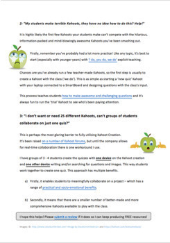 FREE Student Quiz Creation Scaffold