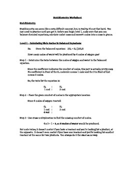 student centered stoichiometry worksheet levels 1 and 2 - Stoichiometry Worksheet