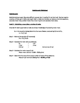 Student centered Stoichiometry worksheet - Levels 3 to 6