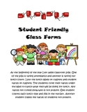 Student friendly lunch count and attendance forms
