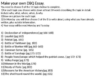 Student generated DBQ on the American Revolution