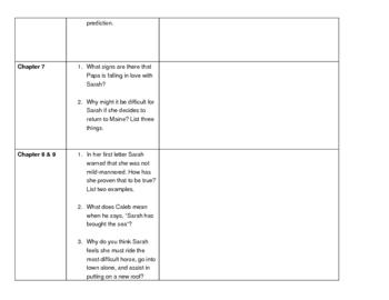 Student guide for teacher read aloud of Sarah, Plain & Tall