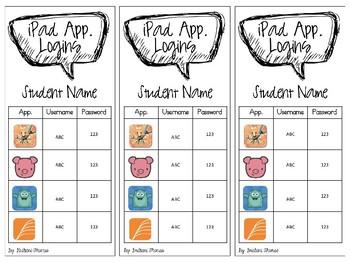 Student iPad Login Cards