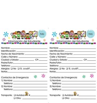 Student info card Spanish