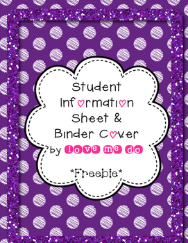 Student information and binder cover *FREEBIE!*