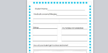 Student information, beginning of year forms, Para expectations