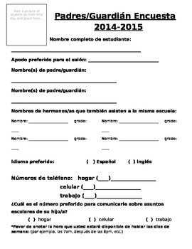 Student information card (Spanish/ Espanol)