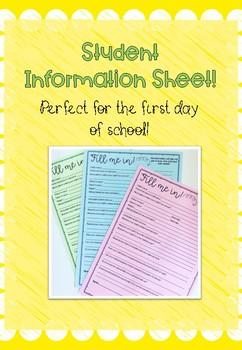 Student information freebie!