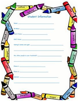 Student information sheet Elementary English & Spanish