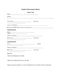 Student information sheet for first day