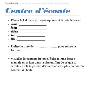 Student instructions for Guided reading center/  Lecture guidee Feuille de route