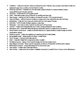 Student jobs and descriptions - Spanish Class