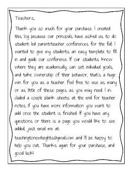 Student led Conference Log