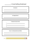 Student led goal setting worksheet and progress log