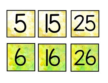 Student number Watercolor Labels