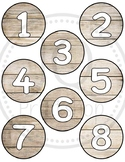 Student number circles - Wood theme numbers - Shiplap - Cl