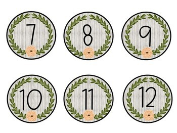 Student numbers circles/labels farmhouse style
