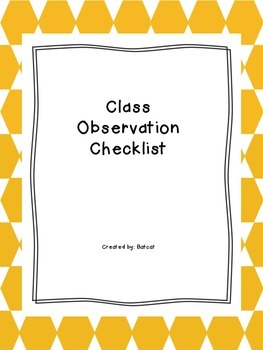 Student observation template