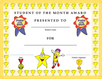 Student of the Month Award Certificate- Kids Will Love It!!