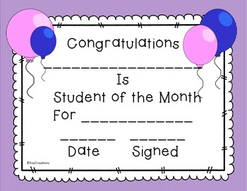 Student of the Month Award Certificates