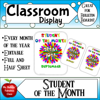 student of the month award teaching resources teachers pay teachers