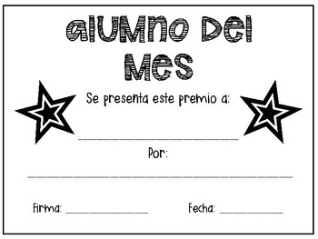 Student of the Month Award *FREEBIE* English + Spanish Alumno/a del mes