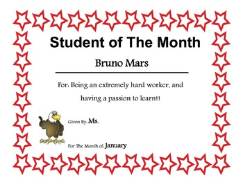 student of the month award template editable by a to z resources