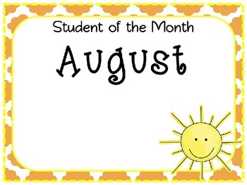 Student of the Month Awards (August - June)