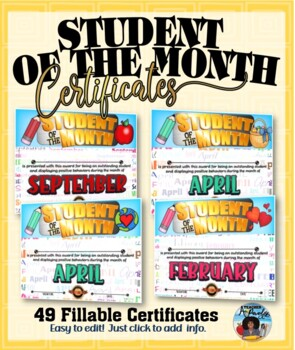 Student of the Month Awards Pack {Fillable}