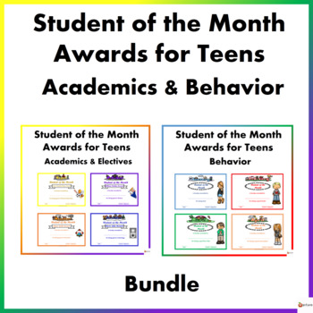 Student of the Month Behavior and Academic Awards for Tweens and Teens Bundle