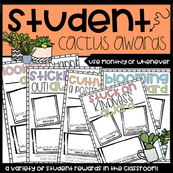 Student of the Month Cactus Themed Awards/Recognition