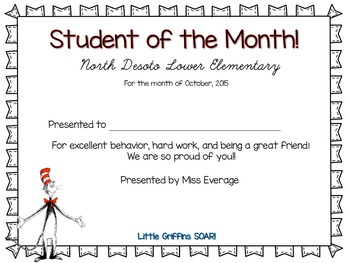 student of the month certificate editable teaching resources