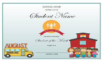 Student of the Month Certificates (12 months)