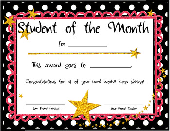 student of the month certificates by nicole swisher all things