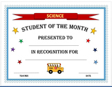 Student of the Month Certificates
