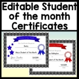 Student of the Month Certificates Editable! {4 Different Colors}