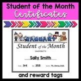 Student of the Month Certificates and Reward Tags