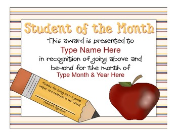 Student of the Month Certificate/Award {Sample} - Apple ...