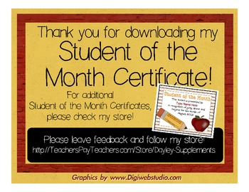 Student Of The Month Certificateaward Apple Pencil