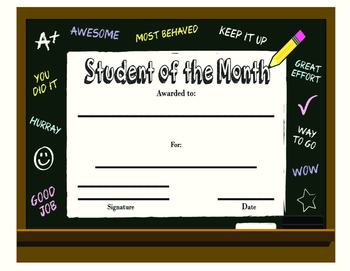 Student of the Month Chalk Board Style - Printable