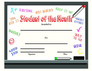 Student of the Month Dry Erase Board Style - Printable